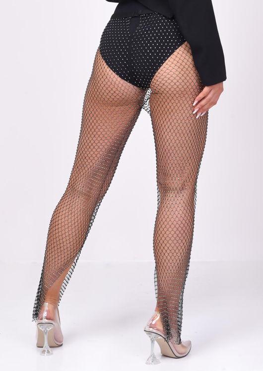 High Waisted Diamante Fishnet Side Split Trousers Black