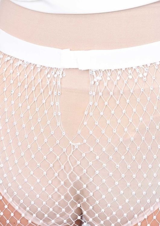 High Waisted Diamante Fishnet Side Split Trousers white