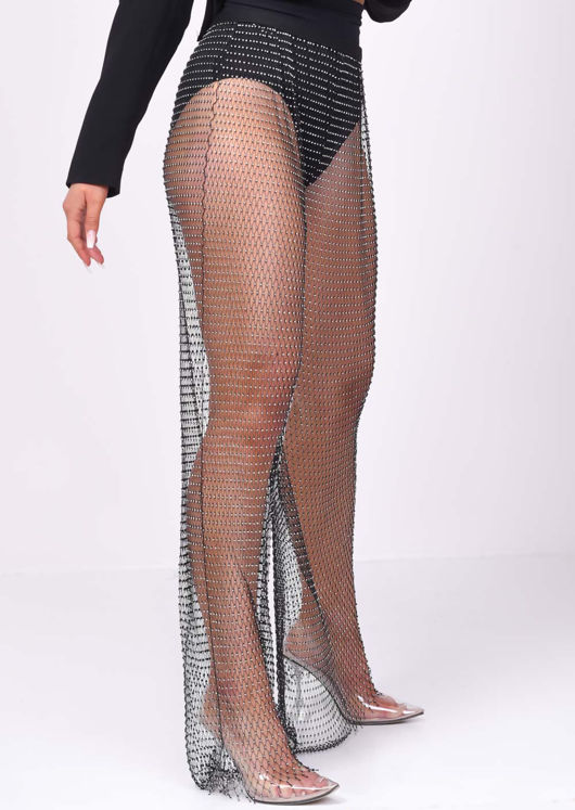 High Waisted Diamante Fishnet Wide leg Trousers Black