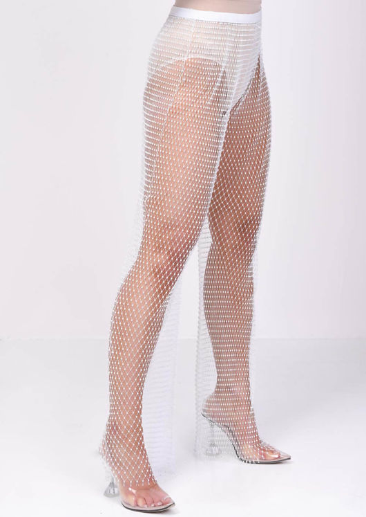 High Waisted Diamante Fishnet Wide leg Trousers White