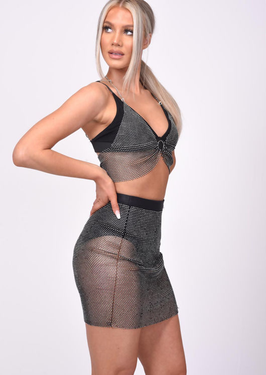 Chainmail Halterneck Diamante Fishnet Bralet Top Black
