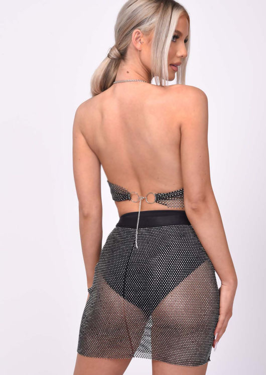 Chainmail High Waisted Diamante Fishnet Skirt Black