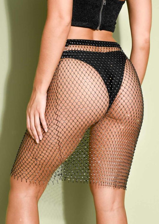 High Waisted Diamante Fishnet Skirt Black