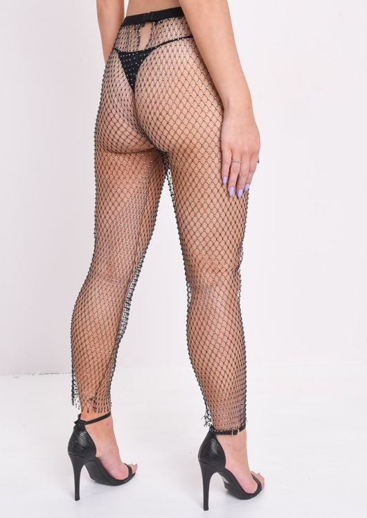 High Waisted Diamante Fishnet Trousers Black