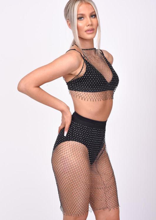 High Waisted Chainmail Diamante Stretch Mini Skirt Black