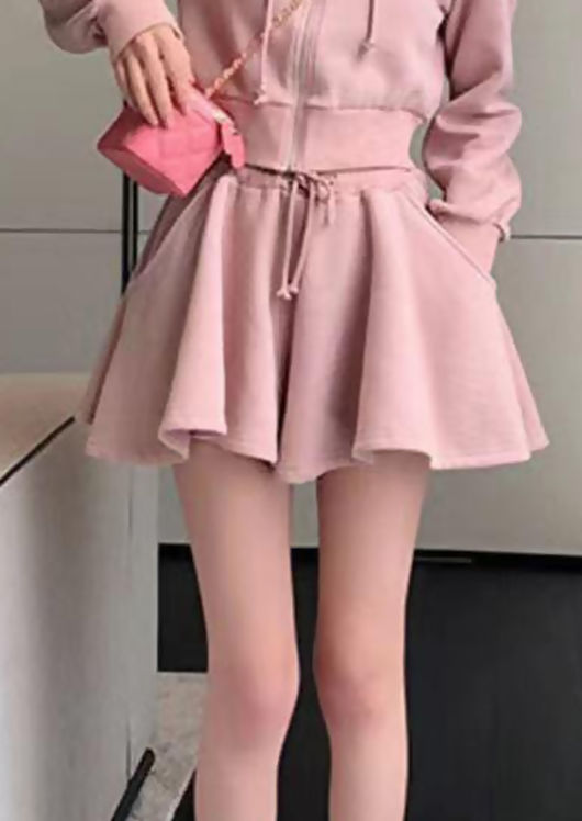 High Waisted Elasticated Drawstring Sweater Shorts Pink