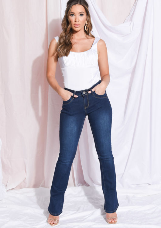 High Waisted Flare Denim Jeans Dark Blue