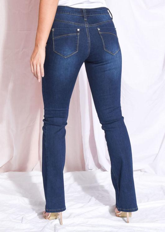 High Waisted Flare Denim Jeans Dark Blue