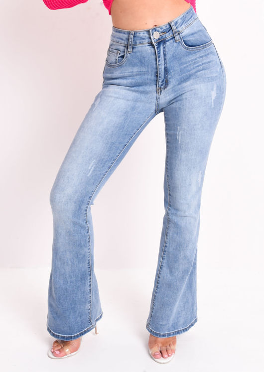 High Waisted Flare Denim Jeans Light Blue