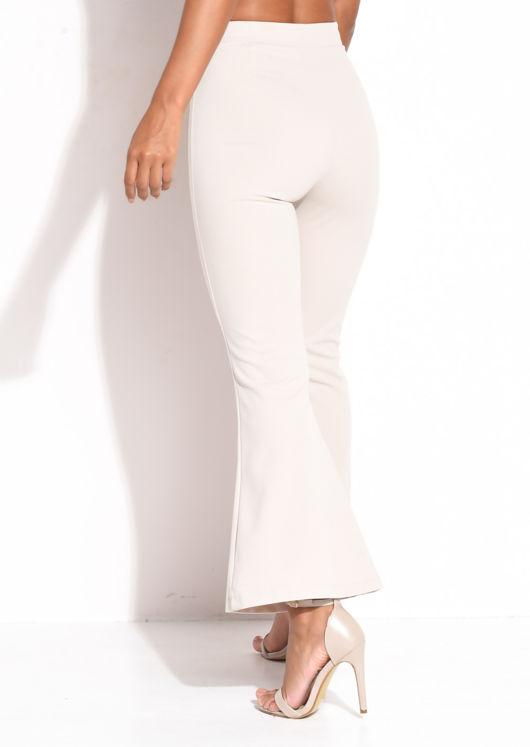High Waisted Flared Leg Trousers Beige