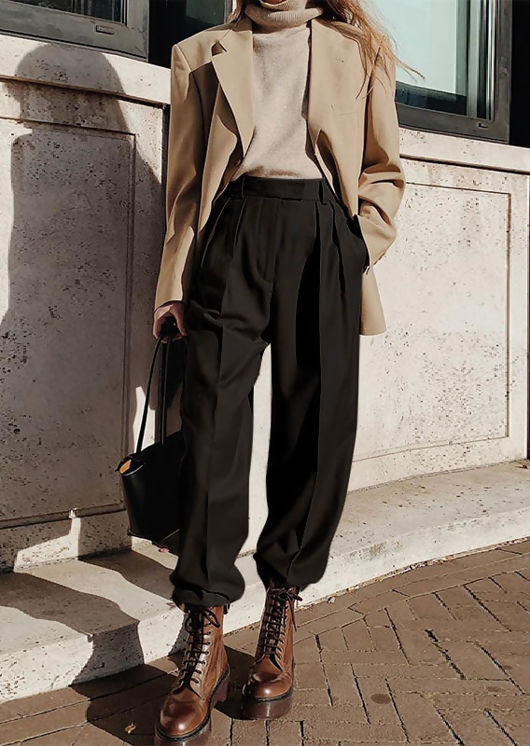 High Waisted Flared Wide Leg Palazzo Trousers Black