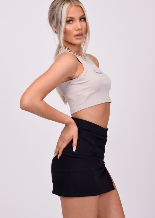 High Waisted Front Split A Line Mini Skirt Black