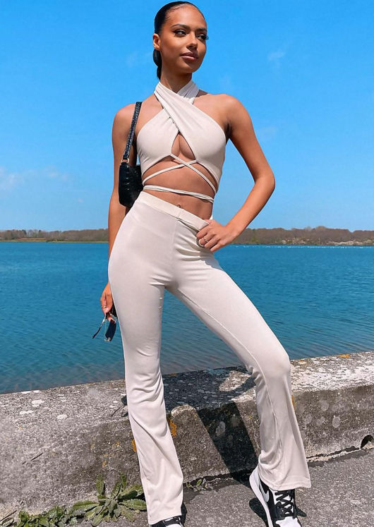 High Waisted Halterneck Wrap Over Flared Pants Co Ord Set Beige