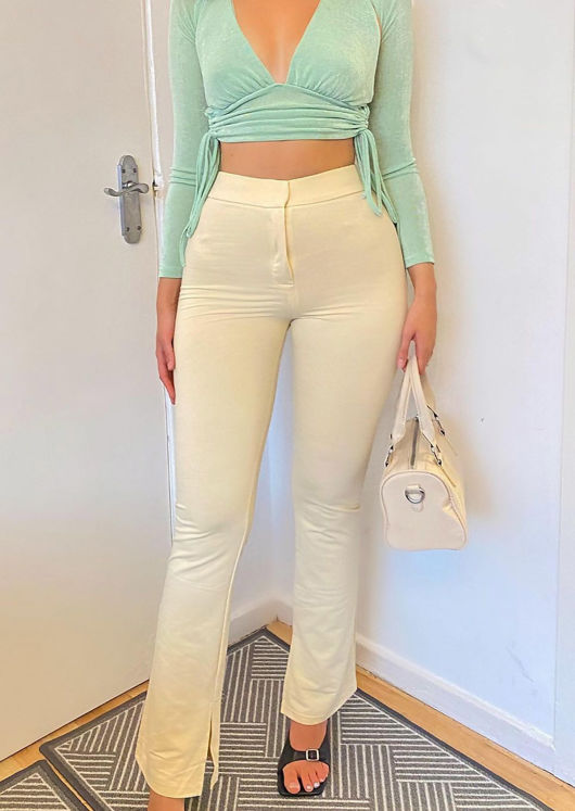 High Waisted Hook On Side Split Fitted Flared Trousers Beige