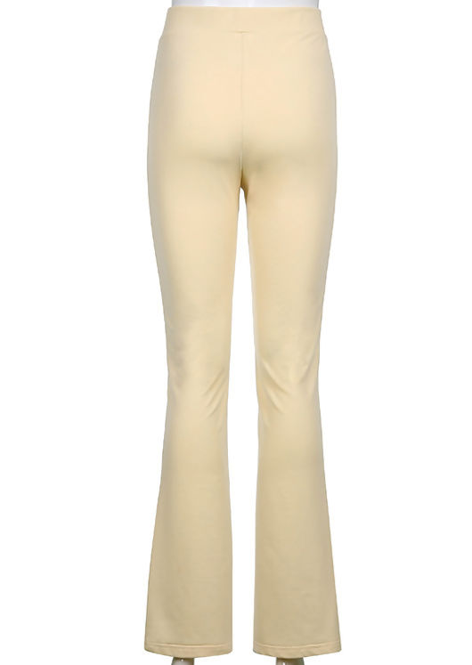 High Waisted Hook On Front Side Split Fitted Flared Trousers Beige