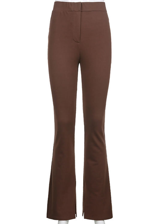 High Waisted Hook On Front Side Split Fitted Flared Trousers Brown