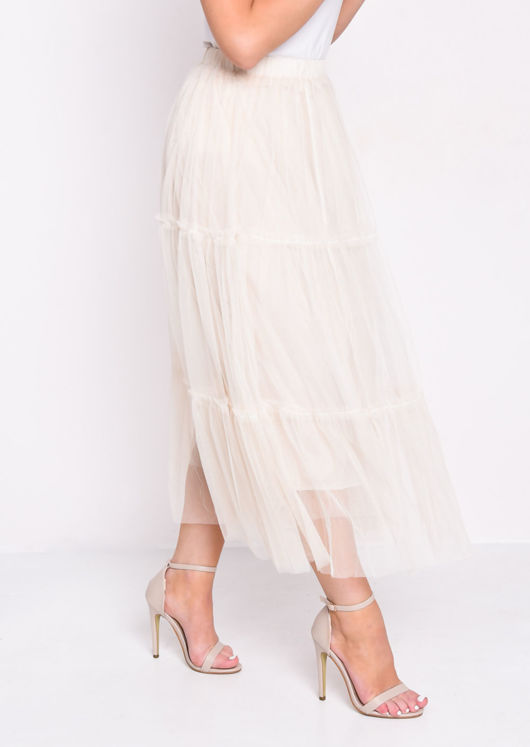 High Waisted Layered Frill Trim Tulle Midi Skirt Beige