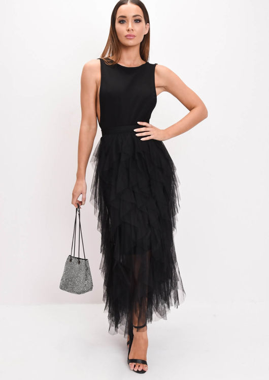 high-waisted-layered-tulle-ruffle-midi-skirt-black by lily-lulu-fashion
