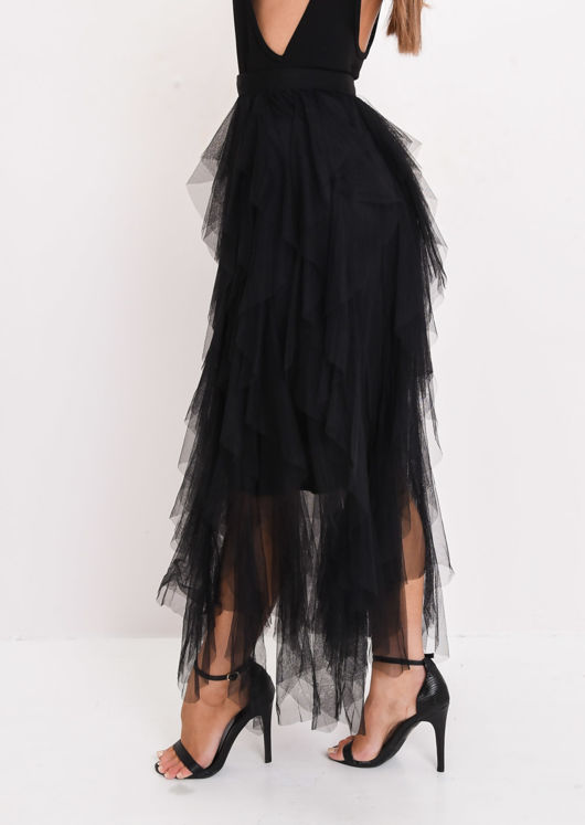 High Waisted Layered Tulle Midi Skirt Black
