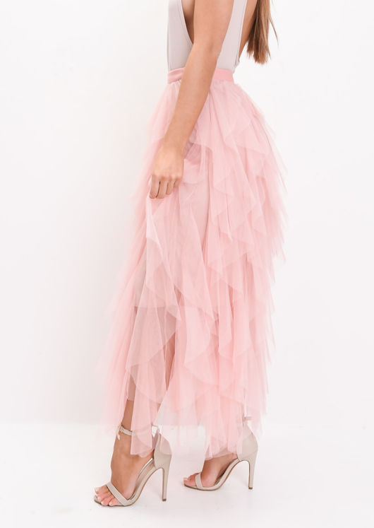 High Waisted Layered Tulle Ruffle Midi Skirt Pink