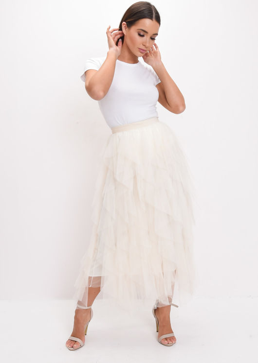 High Waisted Layered Tulle Midi Skirt Yellow