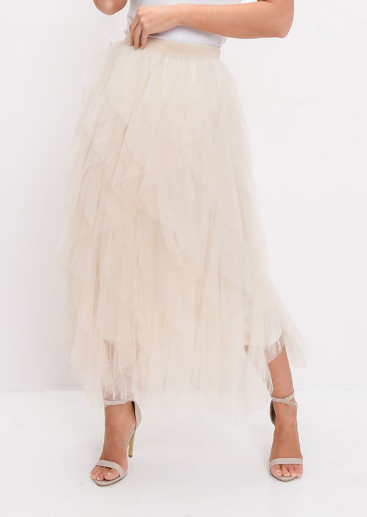 High Waisted Layered Tulle Ruffle Midi Skirt Beige