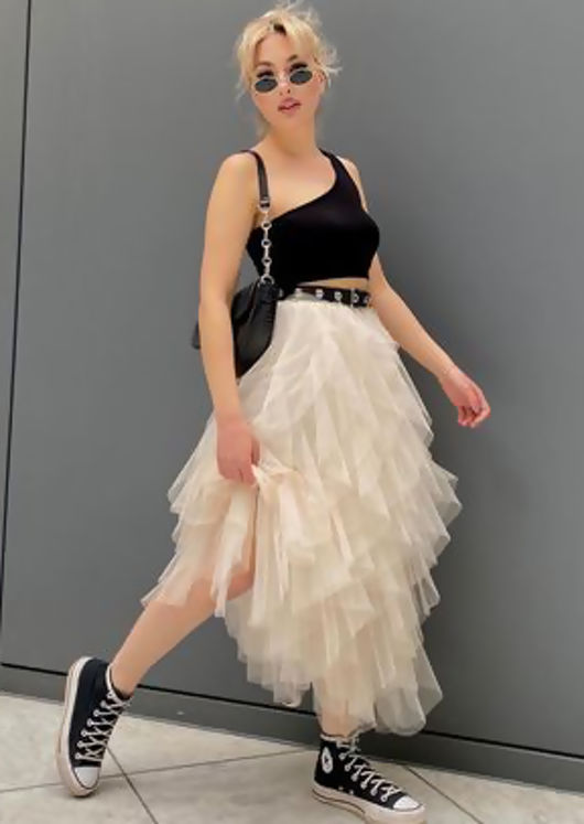 High Waisted Layered Tulle Ruffle Midi Skirt Beige