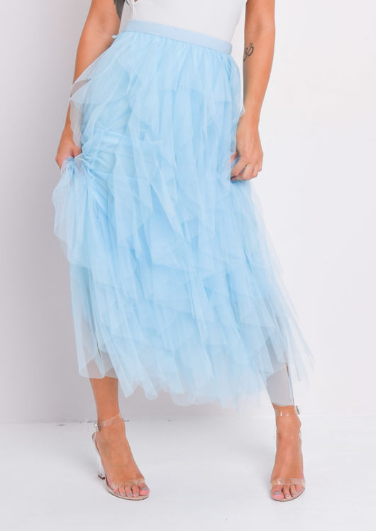 High Waisted Layered Tulle Ruffle Midi Skirt Blue