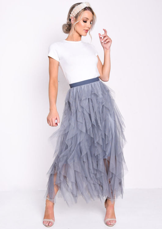 High Waisted Layered Tulle Ruffle Midi Skirt Dark Grey