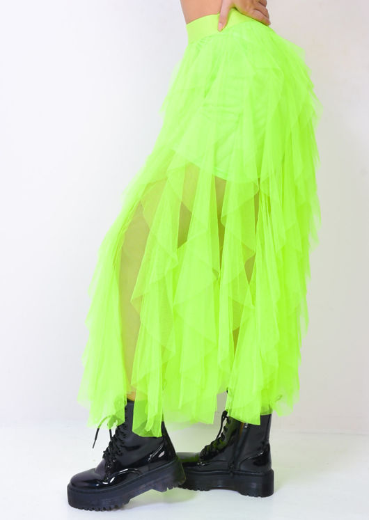 High Waisted Layered Tulle Ruffle Midi Skirt Neon Green