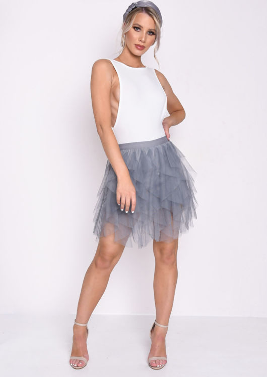 high-waisted-layered-tulle-ruffle-short-skirt-grey by lily-lulu-fashion