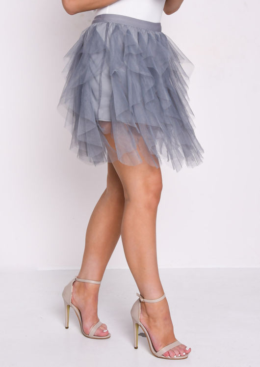 High Waisted Layered Tulle Ruffle Short Skirt Grey