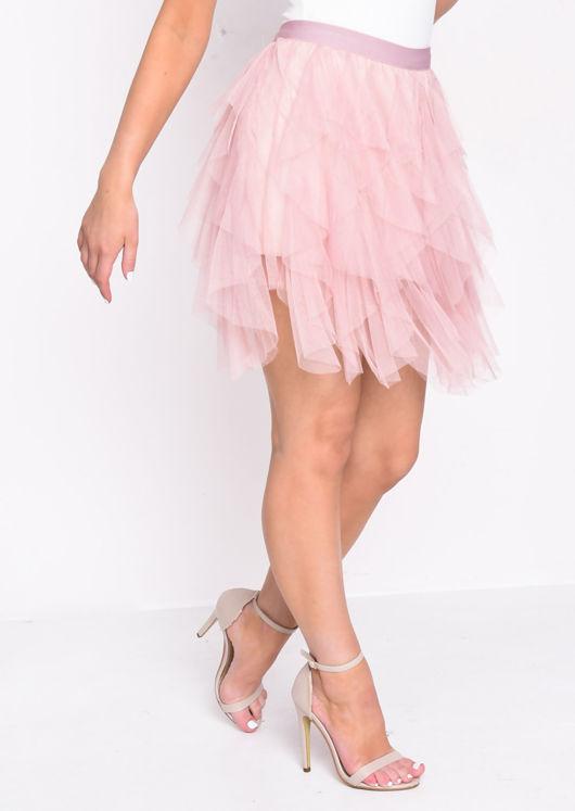 High Waisted Layered Tulle Ruffle Short Skirt Pink