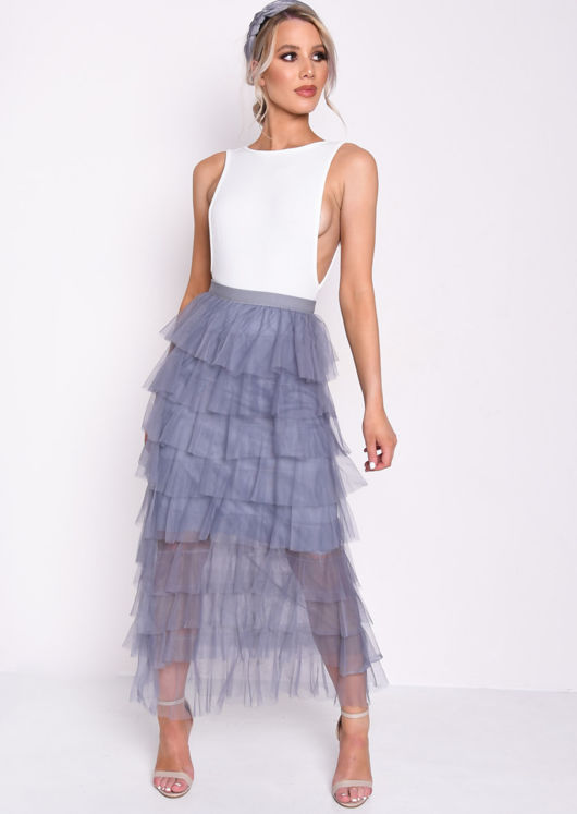 High Waisted Layered Tulle Ruffle Skirt Blue