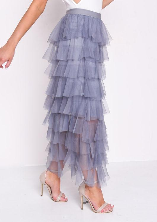 High Waisted Layered Tulle Ruffle Skirt Blue