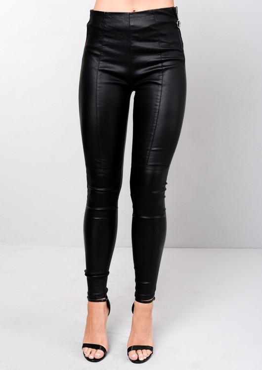 High Waisted Leather Look Legging Trousers Black