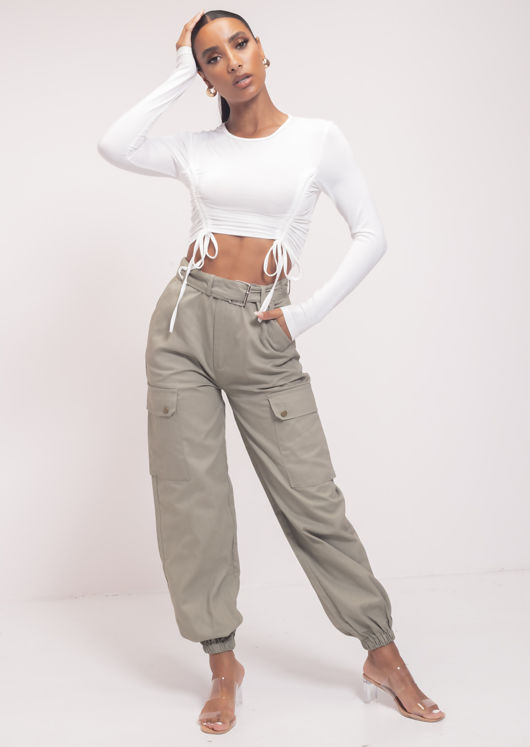 High Waisted Long Belt Utility Cargo Fitted Joggers Trousers Khaki Green
