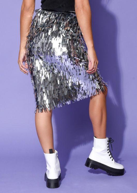High Waisted Metallic Tassel Fringe Midi Skirt Silver
