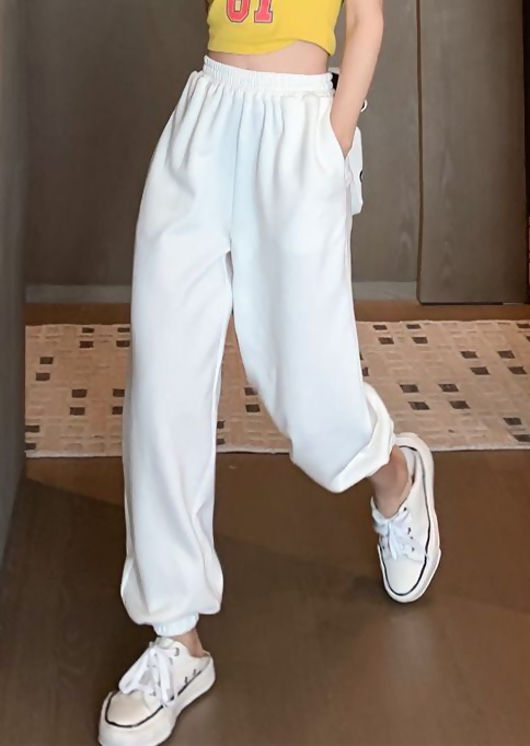 High Waisted Oversized Jogger Trousers White