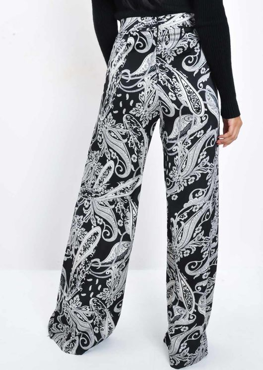 High Waisted Palazzo Trousers Black White Paisley Multi