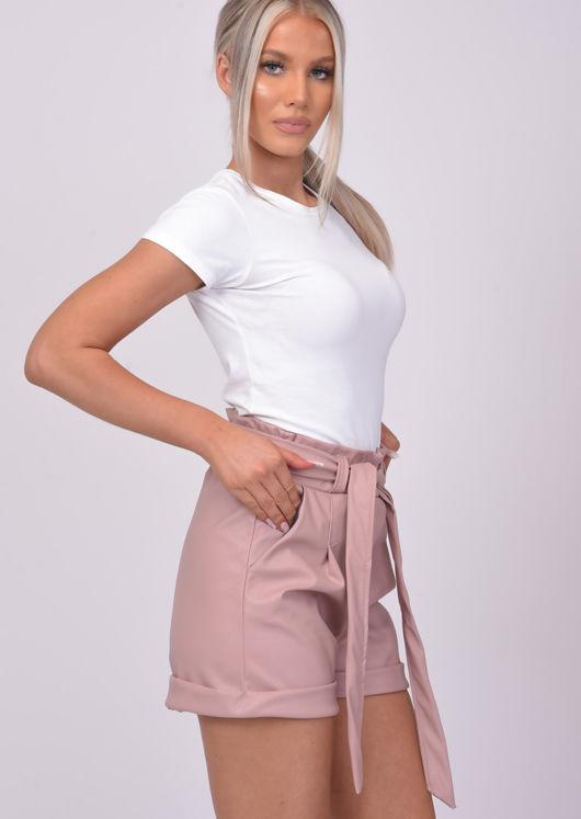 High Waisted Paperbag Pu Tie Waist Shorts Pink