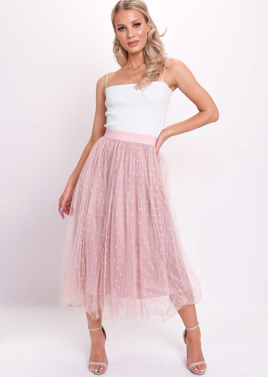 High Waisted Pearl Beaded Embroidered Tulle Midaxi Skirt Pink by Lily Lulu Fashion