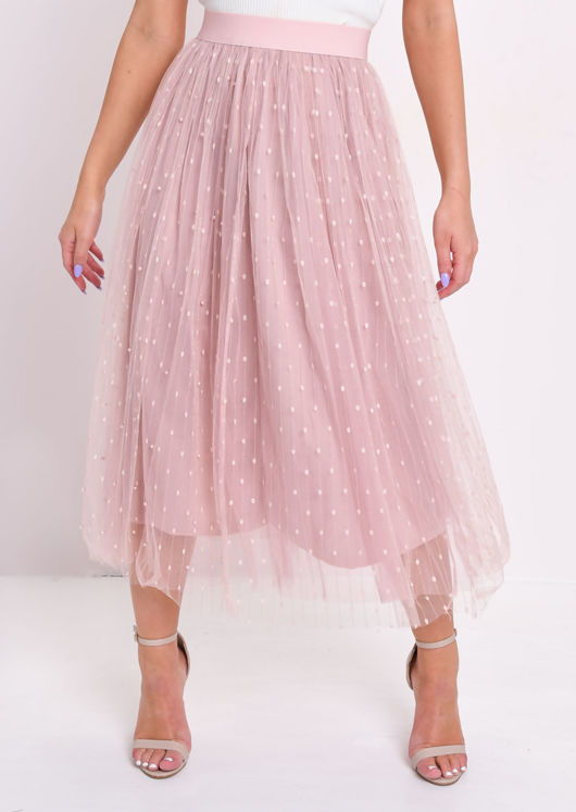 High Waisted Pearl Beaded Embroidered Tulle Midaxi Skirt Pink