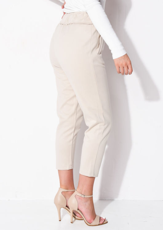 High Waisted Pocket Detail Tapered Leg Trousers Beige