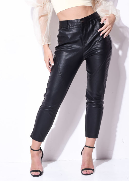 High Waisted Pu Skinny Trousers Black