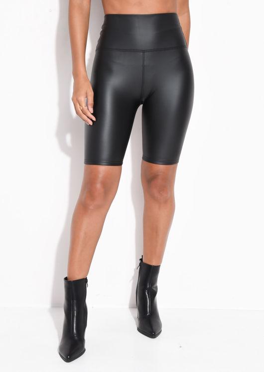 High Waisted PU Stretch Cycling Shorts Black