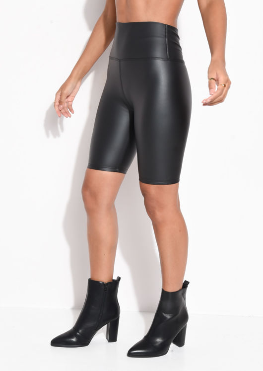 High Waisted PU Stretch Cycling Shorts Black