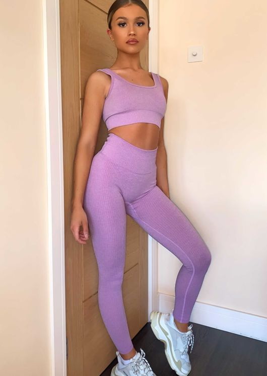 High Waisted Ribbed Legging crop Top Gym Co Ord Set Purple
