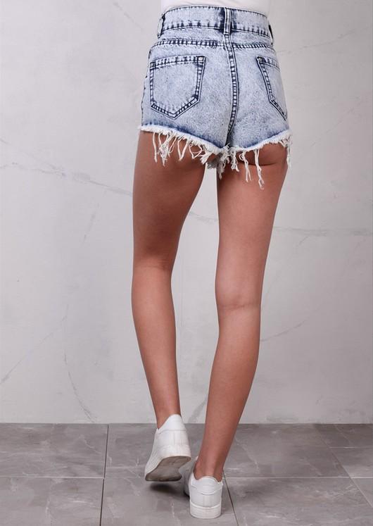 High Waisted Ripped Frayed Edge Denim Hotpants Shorts Acid Wash Blue