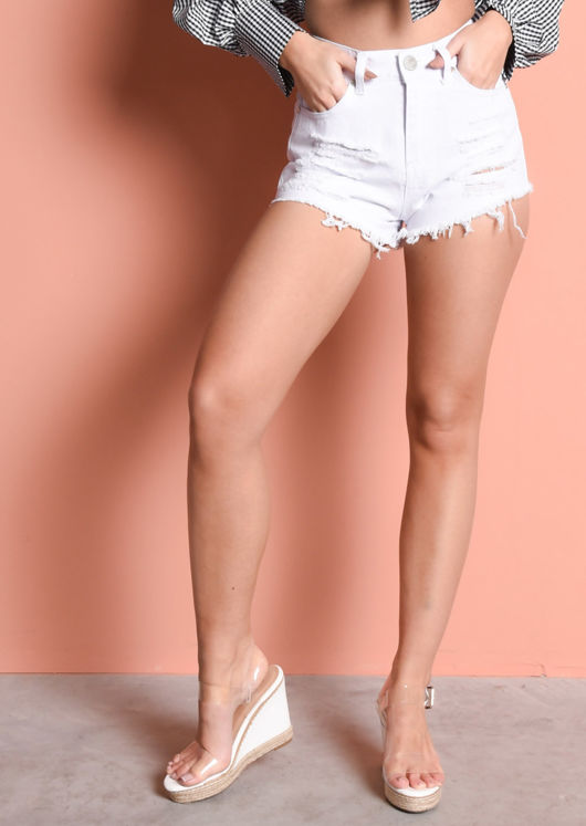 High Waisted Ripped Frayed Edge Denim Hotpants Shorts White